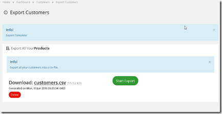 New Feature: Exporting Customers